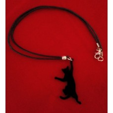 Necklace Dangle Cat Black